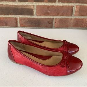 B.o.c Red Leather Slip On Flats Loafers